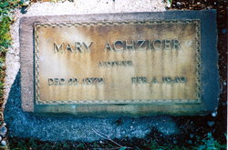Maria Elizabeth Mary <i>Rutt</i> Achziger