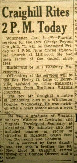 Rev George Peyton Craighill