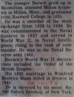 Capt Bernard Mannes Baruch, Jr