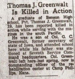 Pvt Thomas J Greenwalt