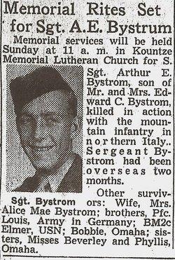 Sgt Arthur E. Bystrom