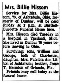 Billie Dewey <i>Herndon</i> Hissom