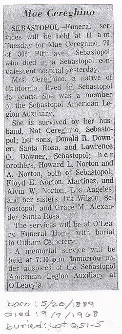 Lottie Mae <i>Norton</i> Cereghino