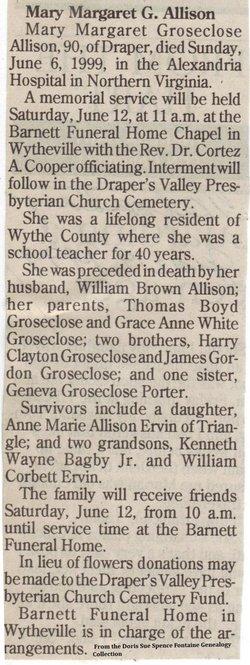 Mary Margaret <i>Groseclose</i> Allison