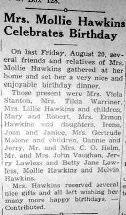 Mary Coffey Mollie <i>Hawkins</i> Ballenger