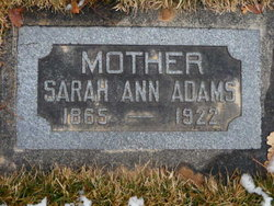Sarah Ann <i>Hill</i> Adams