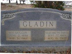 Mary Elizabeth Lizzie <i>Davis</i> Gladin