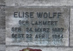 Elise Auguste Anna <i>Lahmert</i> Wolff