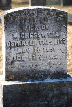 Mary Ann <i>Gemmill</i> Cresswell