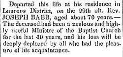 Rev Joseph Babb, Sr