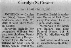 Carolyn Sue <i>York</i> Cowen