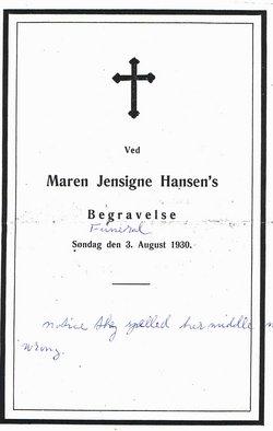 Maren Jensine <i>Jensen</i> Hansen