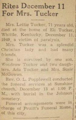 Anzaletta Lettie <i>Miller</i> Tucker