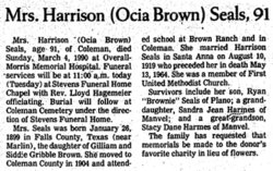 Ocia Mae <i>Brown</i> Seals