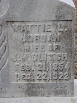 Martha Lucretia Mattie <i>Jordan</i> Blitch