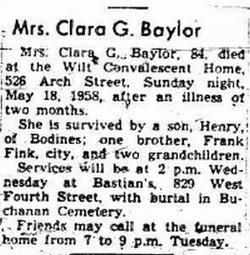 Clara G <i>Fink</i> Baylor