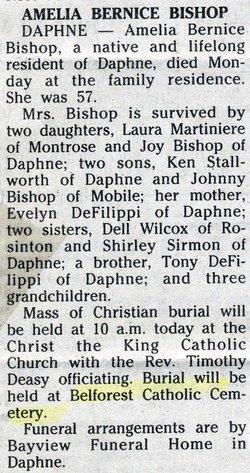 Amelia Bernice <i>DeFilippi</i> Bishop