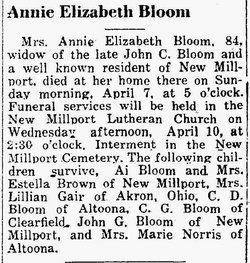 Annie Elizabeth <i>Bloom</i> Bloom