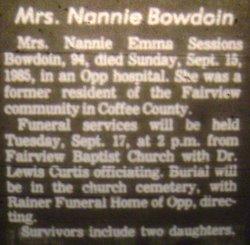 Nannie Emma <i>Sessions</i> Bowdoin