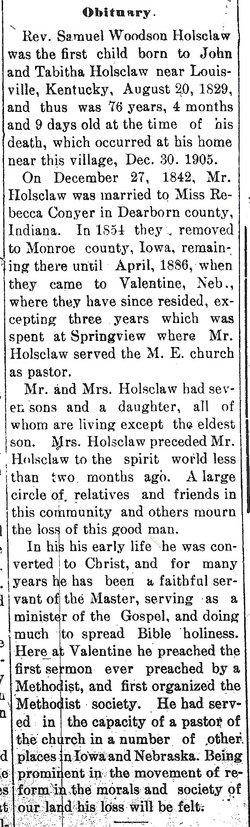 Rev Samuel Holsclaw