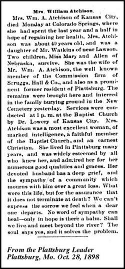 Mary Elizabeth Lizzie <i>Watkins</i> Atchison