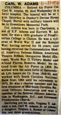 Col Carl W. Adams