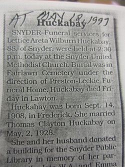 Lettice Areta <i>Wilburn</i> Huckabay