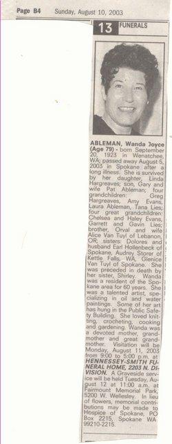 Wanda Joyce <i>Vantuyl</i> Ableman