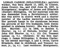 Caroline A. <i>Billingslea Shorter</i> Lomax