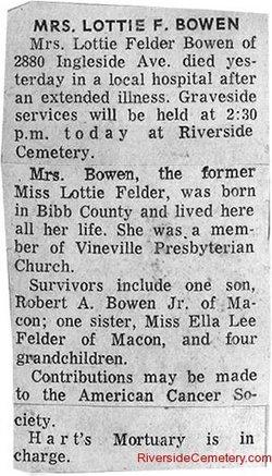 Charlotte Lottie <i>Felder</i> Bowen