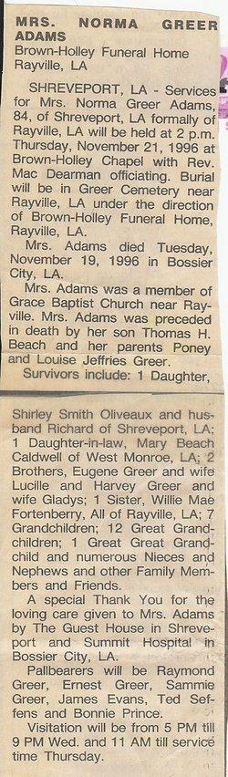Mrs Norma Louise <i>Greer</i> Adams