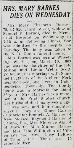 Mary Elizabeth Lib <i>Scott</i> Barnes