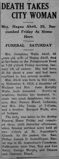 Josephine <i>Walls</i> Abell