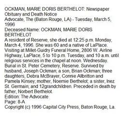 Marie Doris <i>Berthelot</i> Ockman