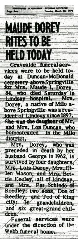 Maude Irma <i>Duncan</i> Dorey