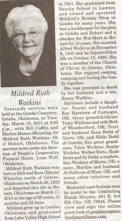 Mildred Ruth <i>Whiteley</i> Watkins