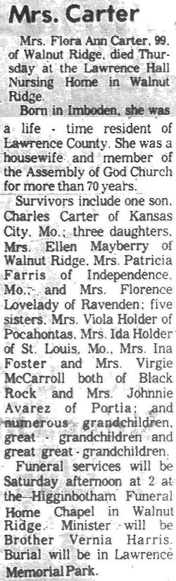 Flora Ann <i>Ward</i> Carter