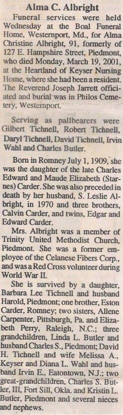 Alma Christine <i>Carder</i> Albright