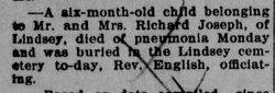 Infant child of Richard Joseph