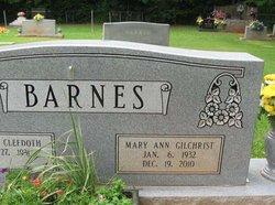 Mary Ann <i>Gilchrist</i> Barnes