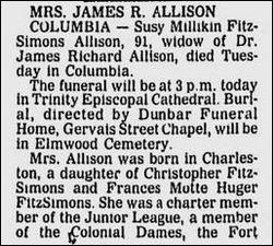 Susan Millikin <i>Fitzsimons</i> Allison