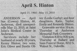 April Sue <i>Cowen</i> Hinton