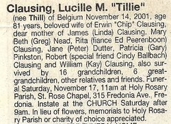 Lucille M. <i>Thill</i> Clausing