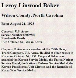 Corp Linwood Leroy Baker, Sr