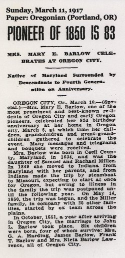 Mary Elizabeth <i>Miller</i> Barlow