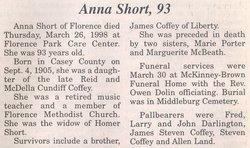 Anna <i>Coffey</i> Short