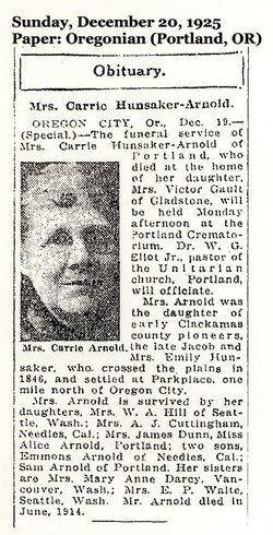 Carrie <i>Hunsaker</i> Arnold