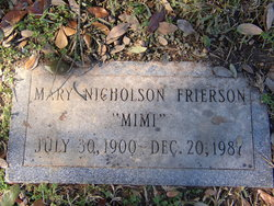 Mary Youngblood Mimi <i>Nicholson</i> Frierson