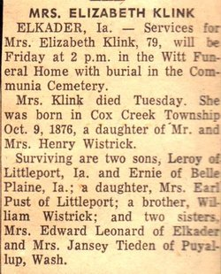 Elizabeth C. <i>Wistrick</i> Klink