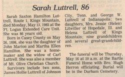 Sarah Saxton <i>Hamilton</i> Luttrell